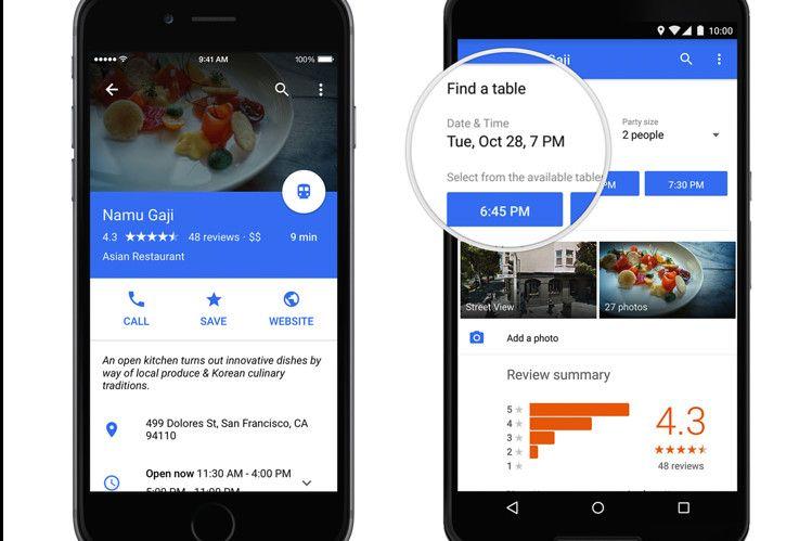 Google Maps App Adds OpenTable Restaurant Reservations
