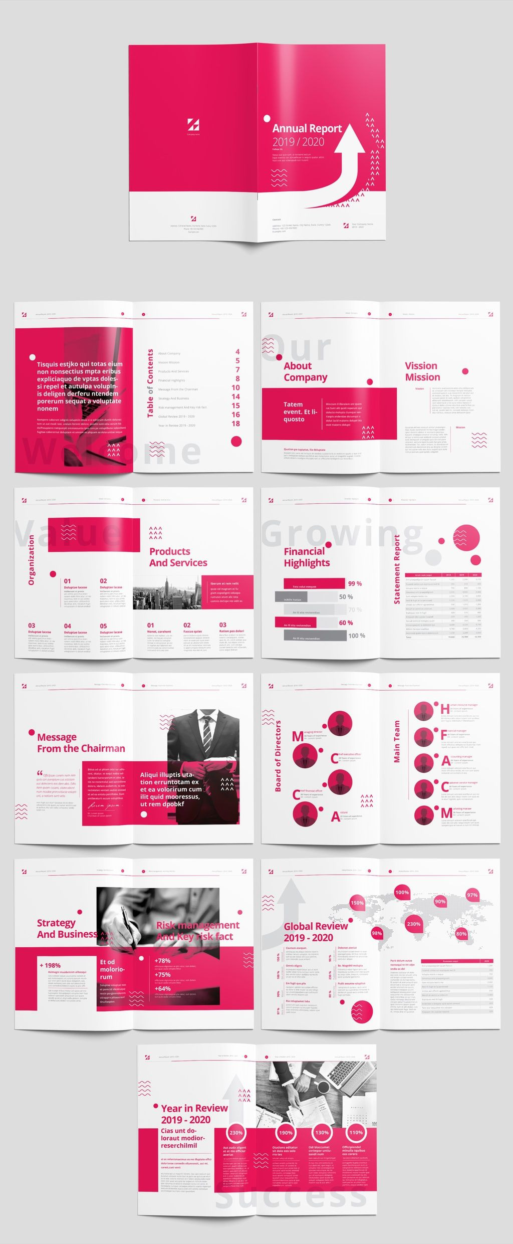 pink and white annual report layout brochure booklet template