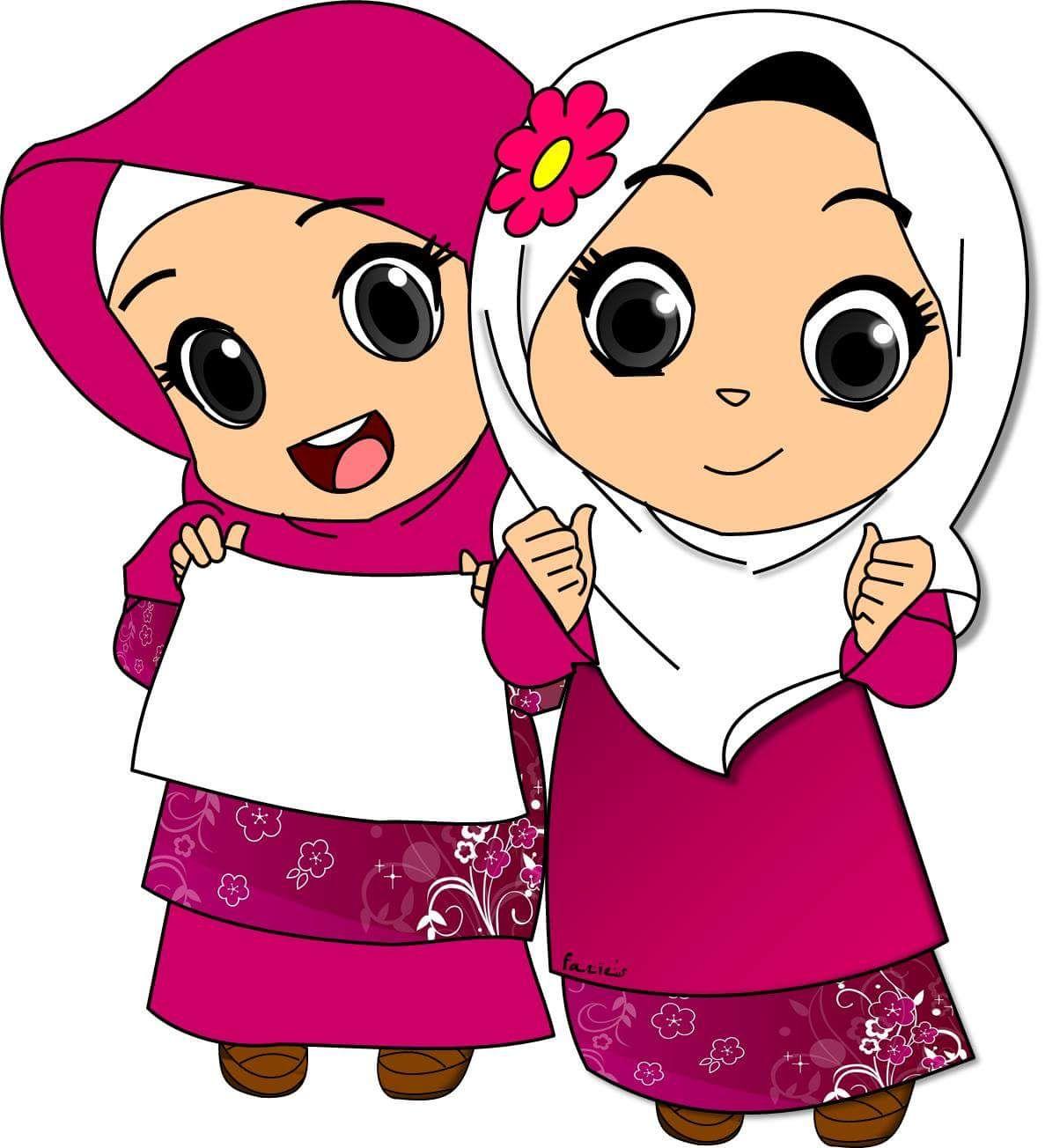 hijab cartoon islam muslim hijabs allah islamic religion spiritual doodles plants