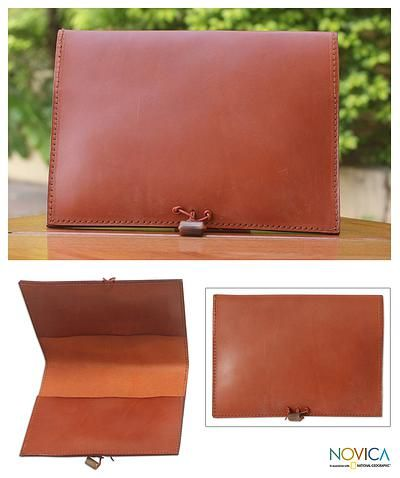 Novica Leather iPad case, Tan Indulgence - Brown Leather Tablet Case