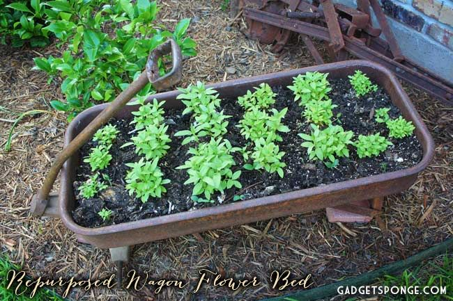 Repurposed Red Rider Wagon Into Elevated Flower Bed by GadgetSponge.com - Repurposing, Upcycling, Birds & Nature