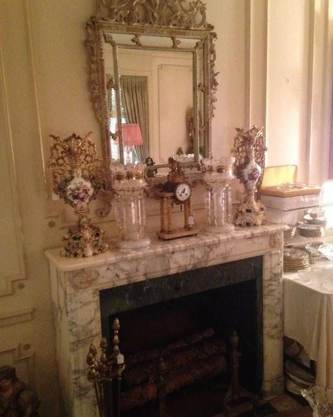 Marble mantel elegant selections above fabulous antique mirror