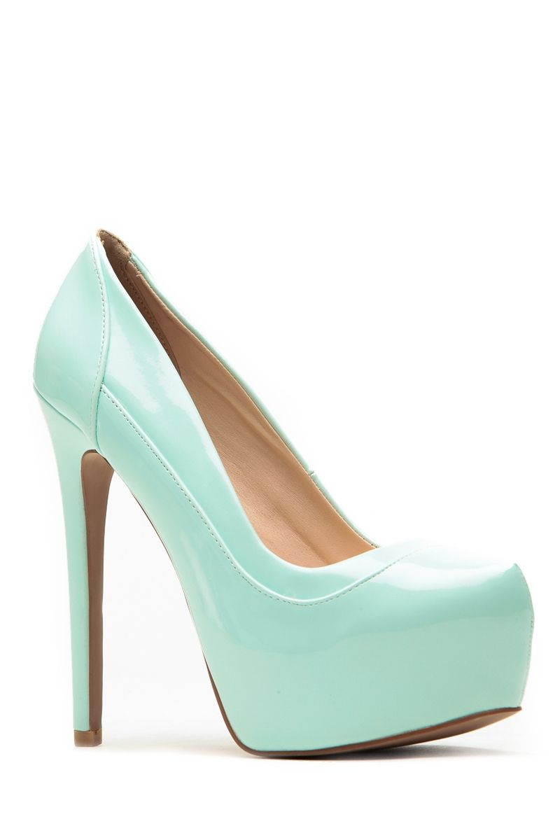 221e0909ac1 Qupid Patent Mint Layered Platform Heels   Cicihot Heel Shoes online store  sales Stiletto Heel Shoes