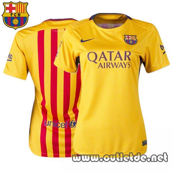Nouveau maillot fc barcelone femme 2015 2016 jaune Extérieur barca boutique officiel