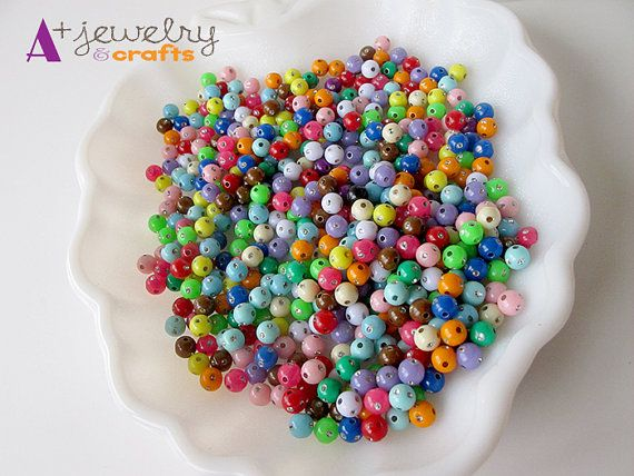 SUPER SALE: Rainbow beads, yellow, red, green, small beads, beading supplies…