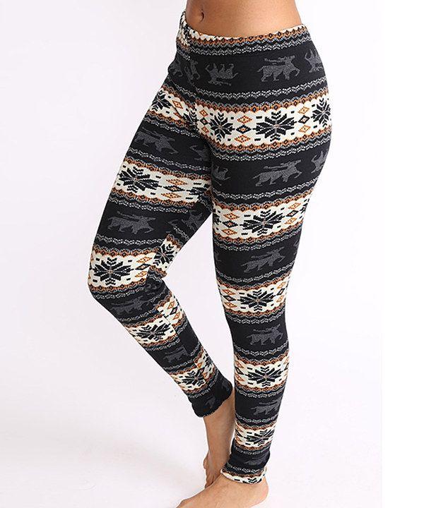 Elegant Apparel Black & Gray Fair Isle Fleece-Lined Leggings ...