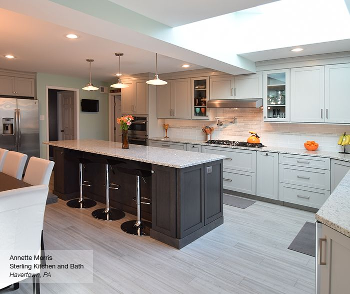 Light Grey Kitchen With Dark Grey Island Cabinets Omega Dove On