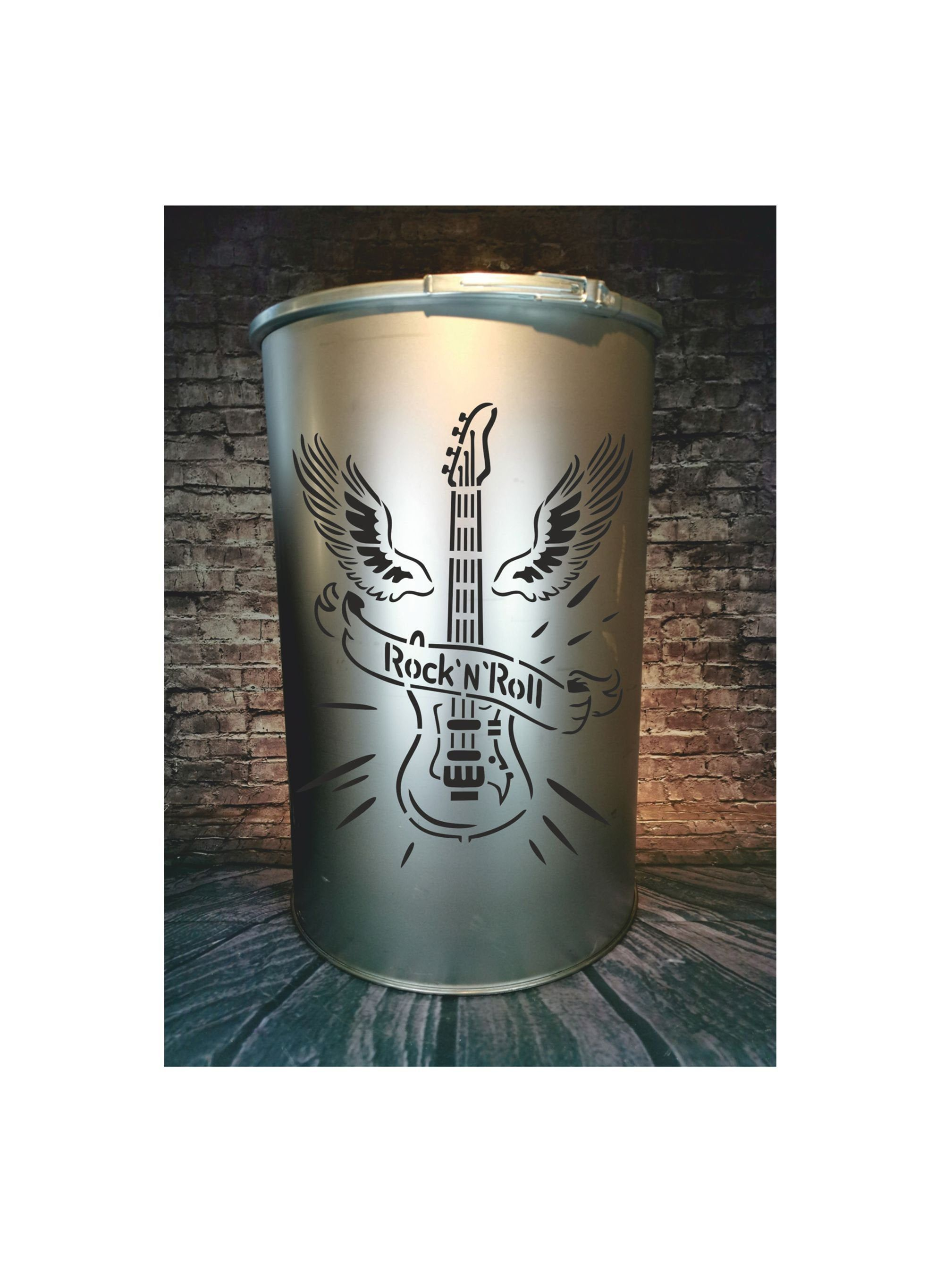 Fire Barrel Guitar Rock N Roll Grill Barrel Rustic Garden Decoration Fireplace For Grilling Barbecue Gift Idea Customizable Rustic Gardens Barrel Gifts
