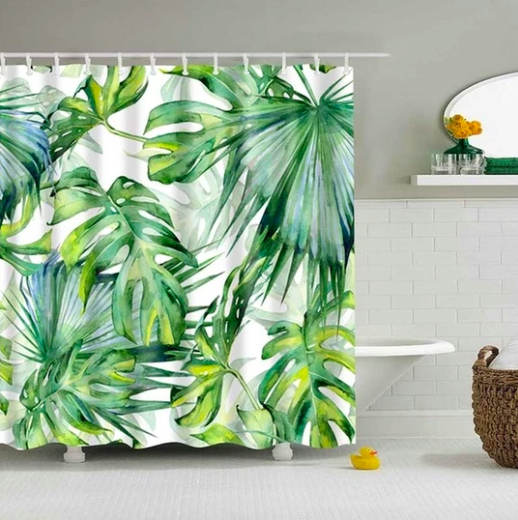 Watercolor Palms Fabric Shower Curtain In 2020 Tropical Shower Curtains Colorful Curtains Tropical Bathroom