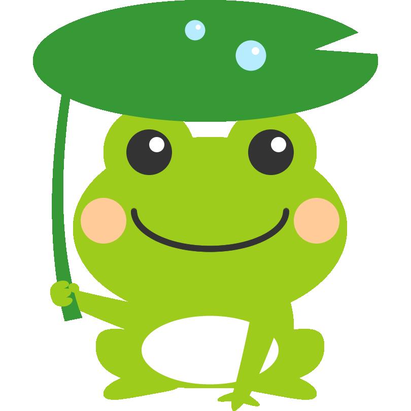 葉っぱの傘をさした可愛い蛙かえるのイラスト カエル カエル