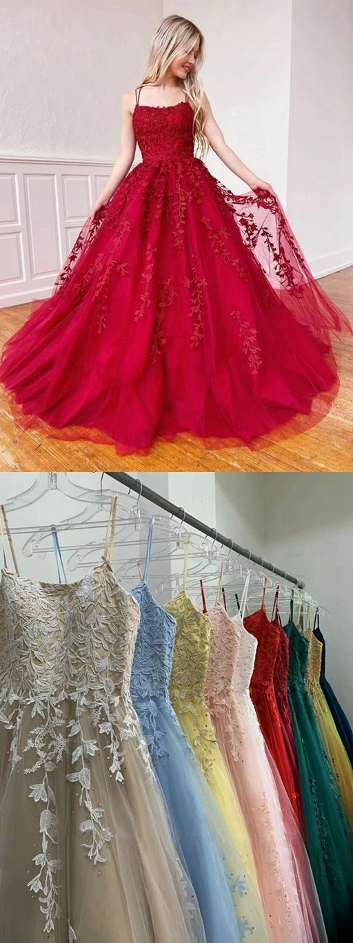 2020 Red Beaded Tulle Appliques Prom Dress | Quinceanera ...