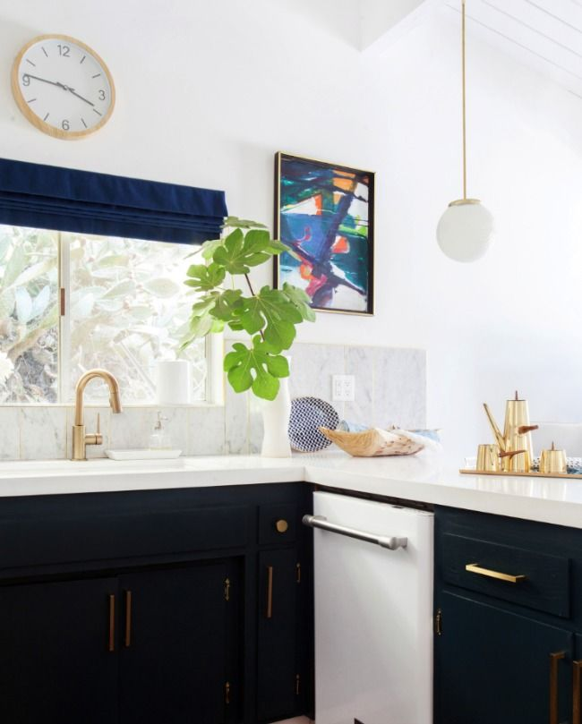 White kitchens with gold accents - Emily Henderson | light and bright kitchen ideas
