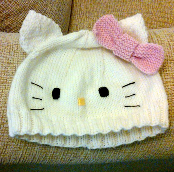 Free Knitting Pattern for Hello Kitty Baby Hat 0e9d1f961453