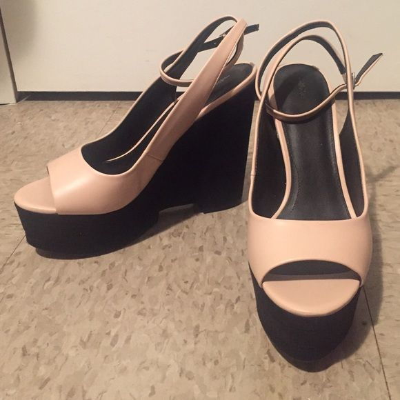 c09ad573a65a Zara peep toe wedges Zara trafaluc wedge. Worn once. Wrap around ankle strap.  Leather like material on pink top and suede on bottom black part. Zara Shoes  ...