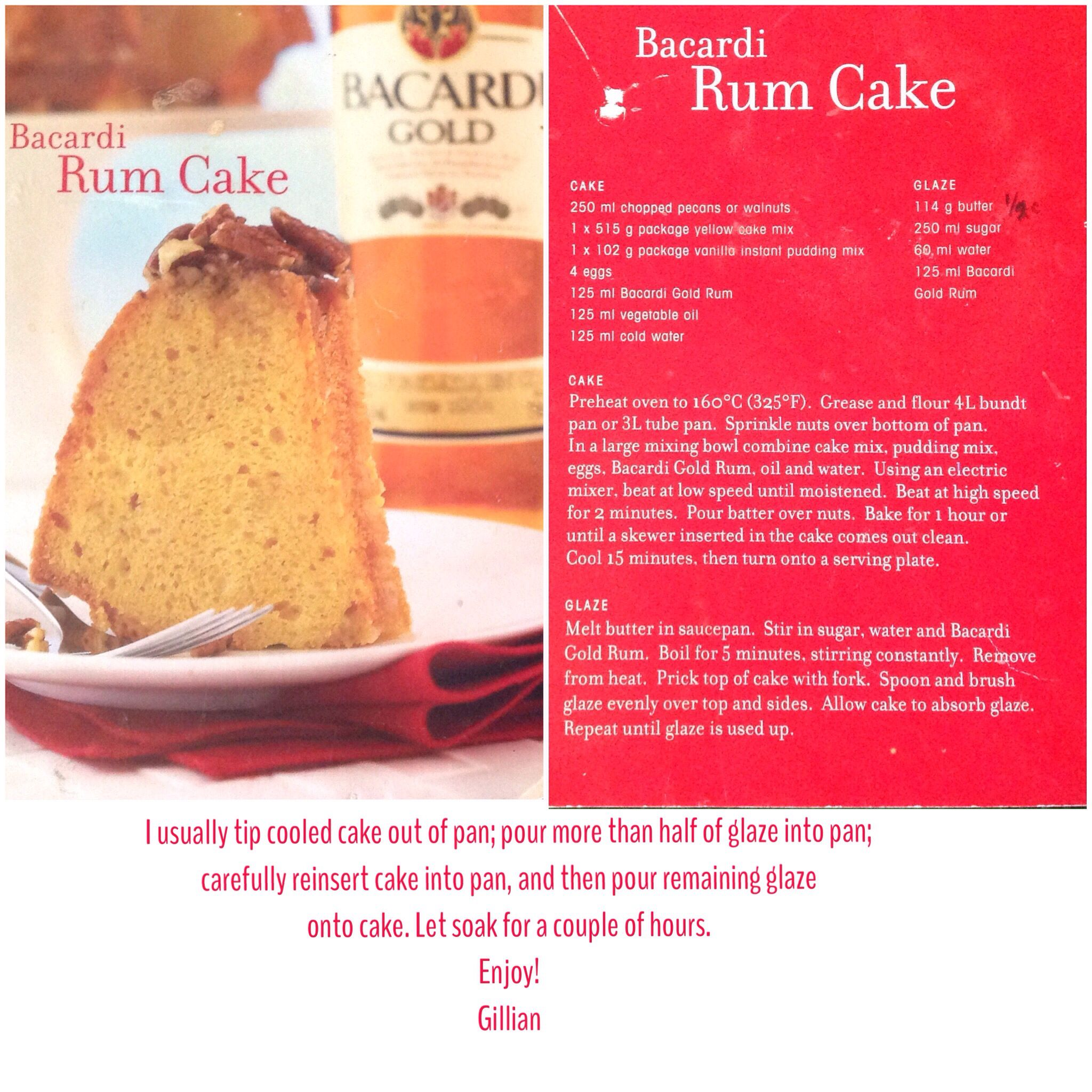 Original Bacardi Gold Rum Cake Recipe