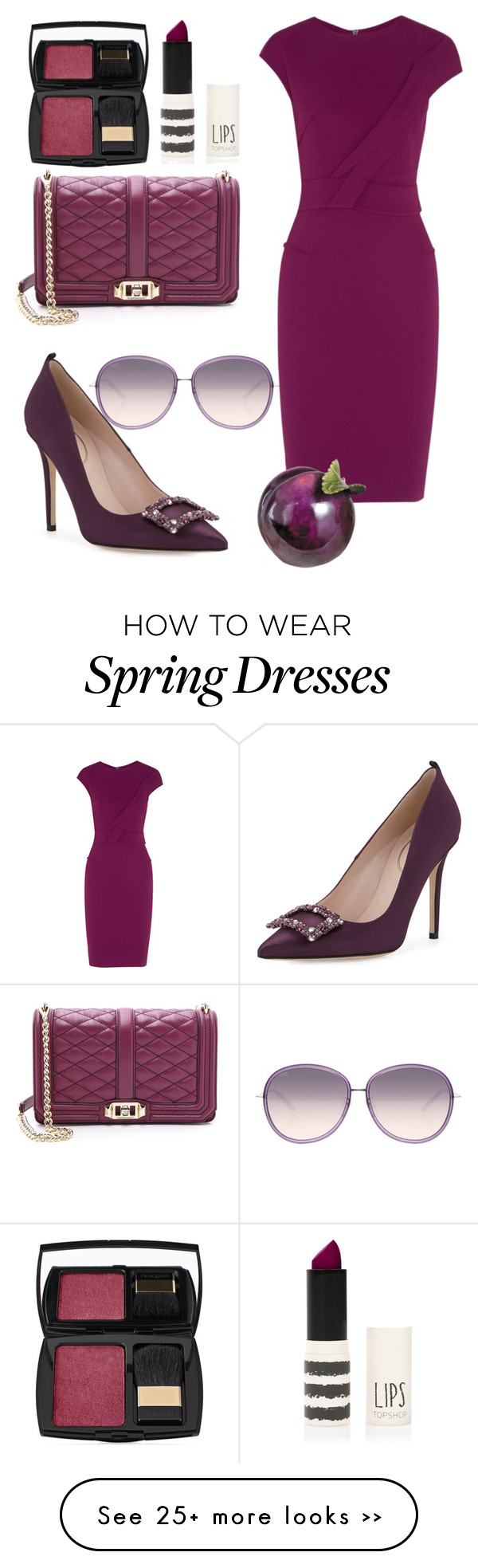 """Plum crazy"" by mushie97 on Polyvore featuring Lancôme, Topshop, Rebecca Minkoff, SJP, Tod's and Roland Mouret"