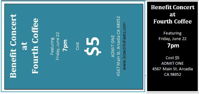 Event Ticket Template Download At HttpWwwBizworksheetsCom