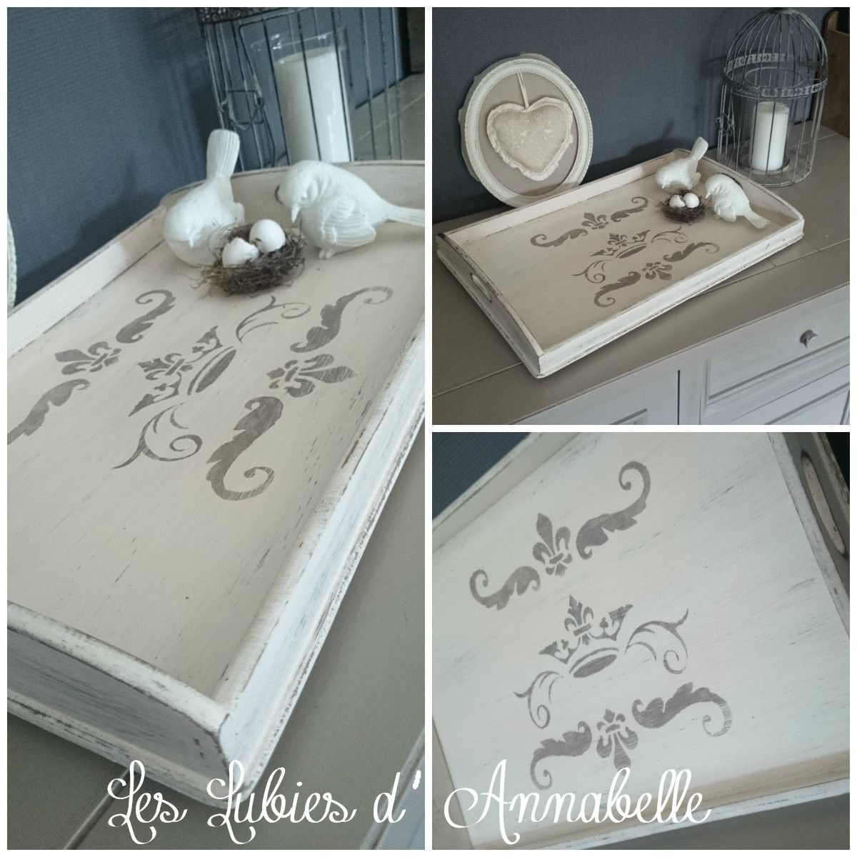 plateau shabby chic en bois patin pochoir couronne d coration de tables table decoration. Black Bedroom Furniture Sets. Home Design Ideas