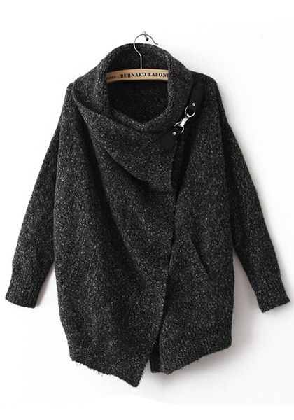 Black Draped Collar Bat Sleeve Wool Trench Coat - Outerwears - Tops