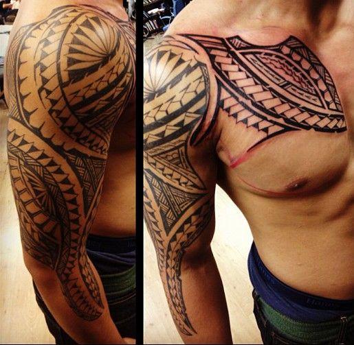 Tatouage Maori Armor Epaule Bras Torse Poitrine Pectoraux Homme