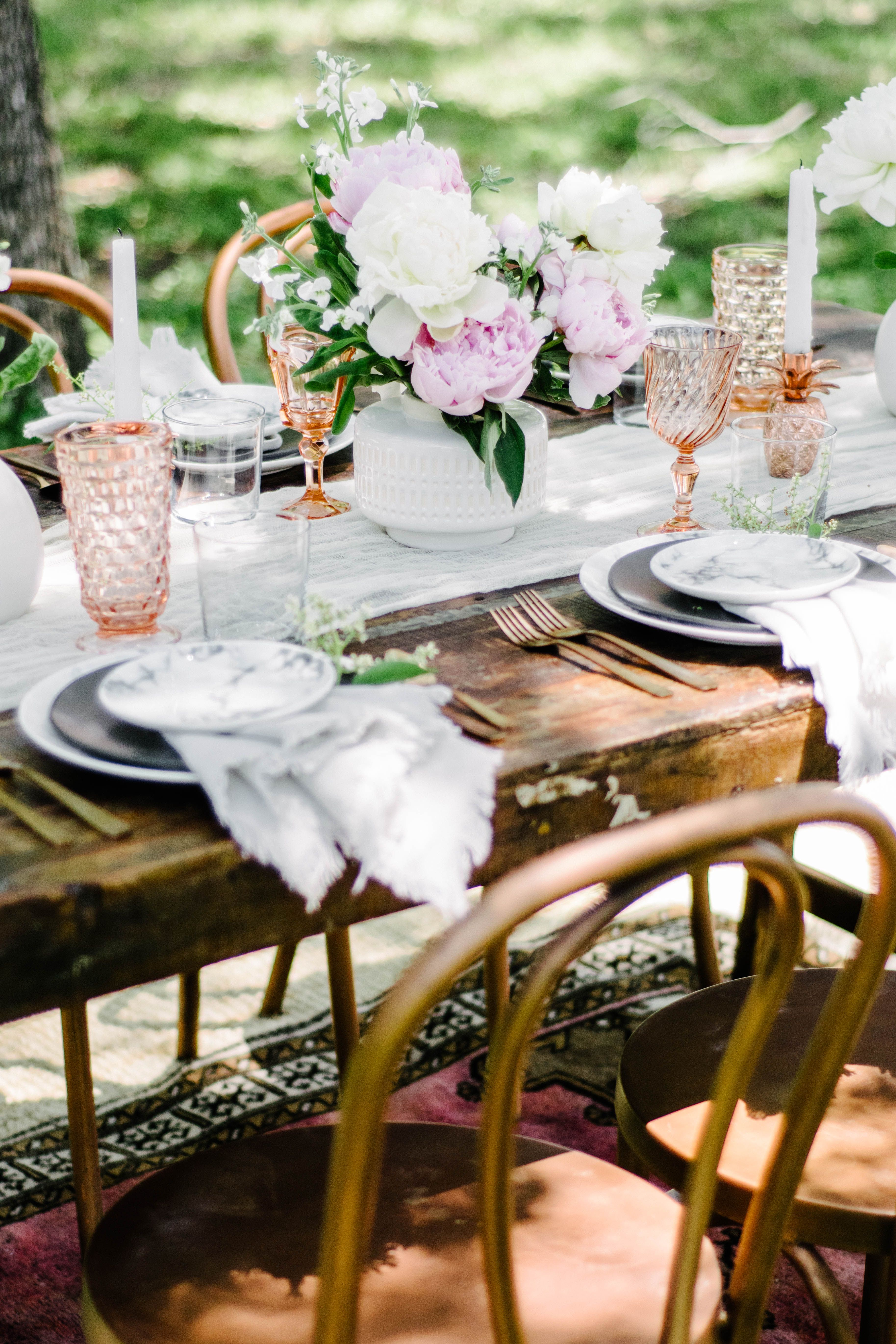 Marble Dinner And Dessert Plates Modern Romantic Wedding With Pink Glasses Copper Bistro Chairs Modern Furnishings Vintage Rentals Home Staging Companies