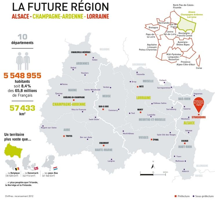Map of Grand Est with cities and old regions | Maps | Pinterest ...