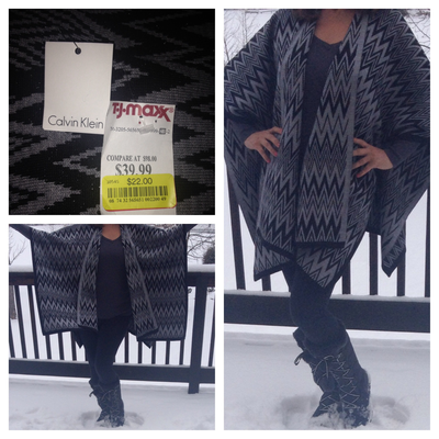 Rena scored this Calvin Klein cape on clearance for $22! #maxxinista #cape #fashion