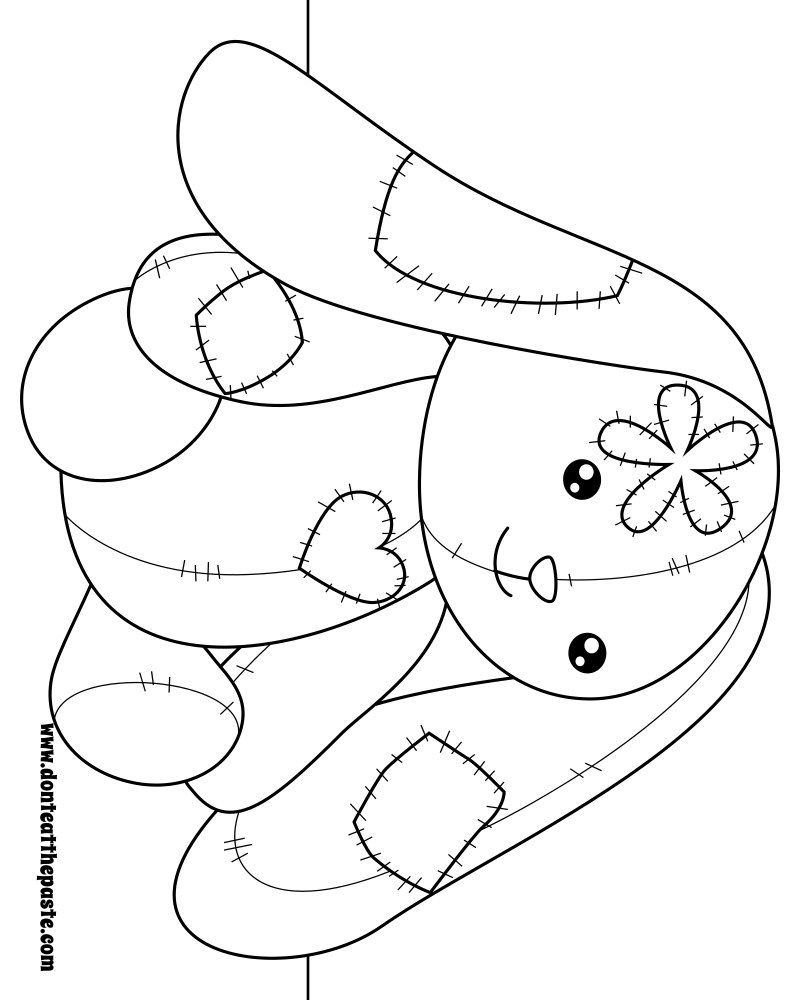 Patchwork bunny to color Also available in transparent png