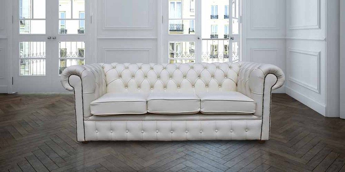 Chesterfield 3 Seater White Leather Sofa Offer Nevis
