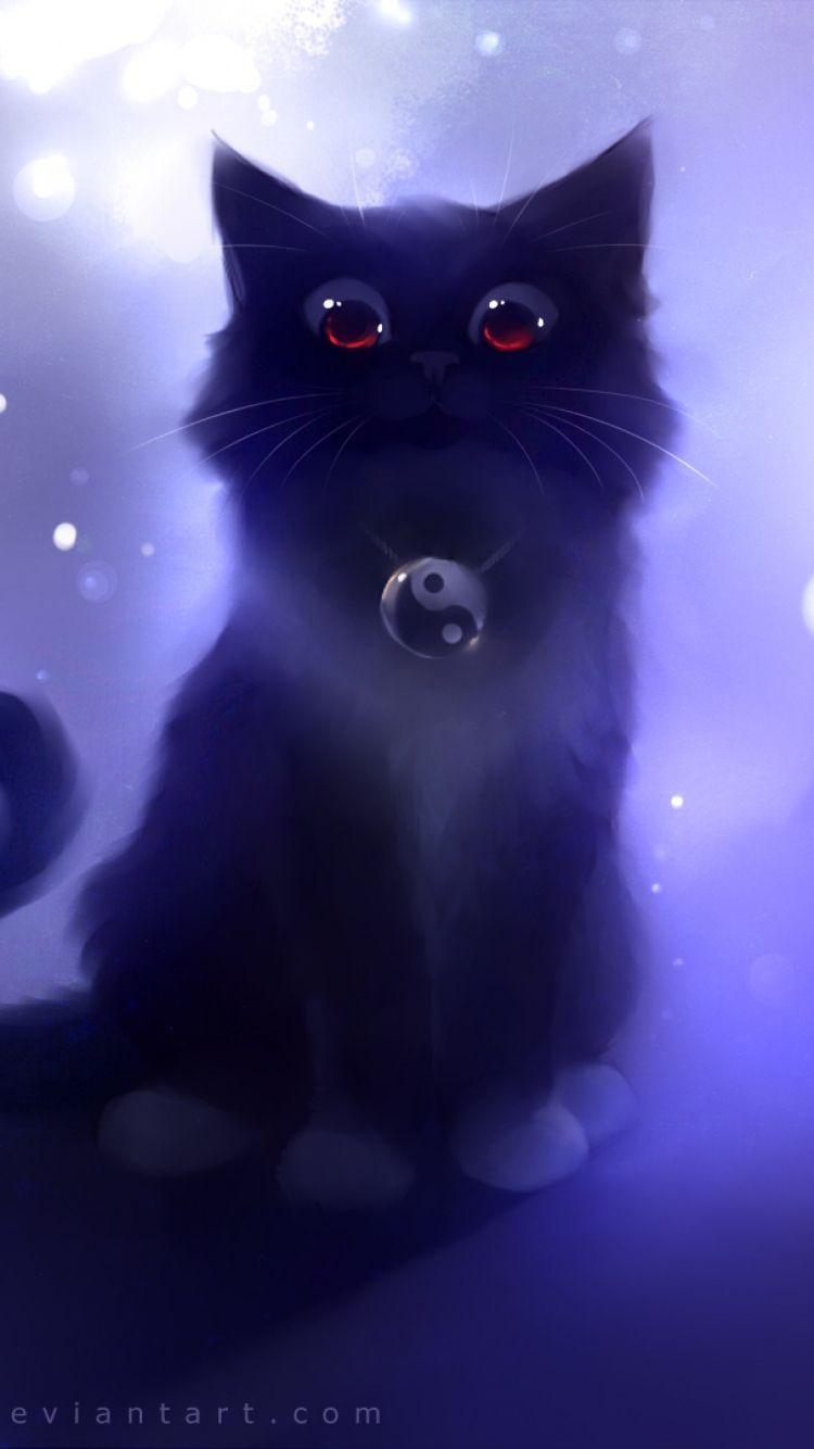 Wallpaper With Images Black Cat Art Cat Art Anime Animals