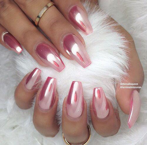 Chrome Rose Coffin Nails Pink Chrome Nails Metallic Nails Chrome Nails