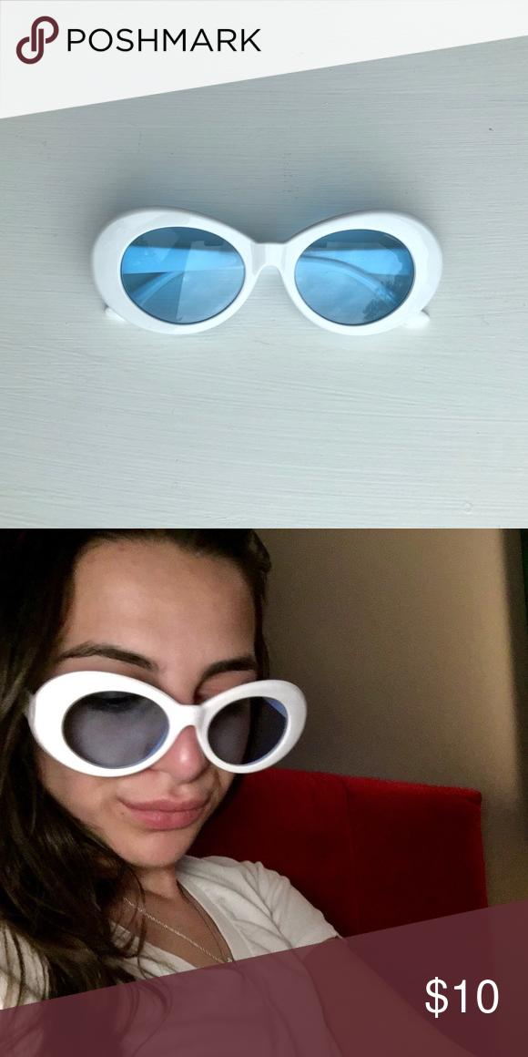 "308ad9ff964 Clout Goggles or Kurt Cobain Sunglasses Kurt Cobain glasses or ""clout  goggles"" • round oval glasses • Supreme style white frame • light blue  transparent ..."