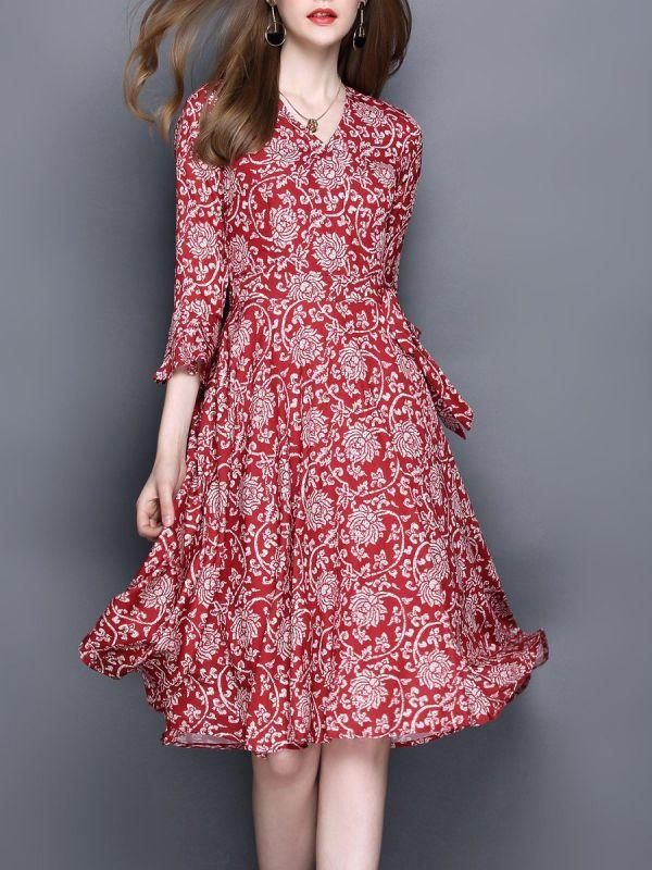 Chicloth V neck Midi Dress A-line Daily Dress Bell Sleeve Casual Printed Floral Dress Prom Dresses