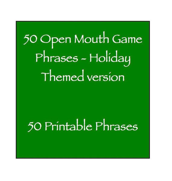 Open Mouth Game Phrases  Holiday Themed Halloween Thanksgiving
