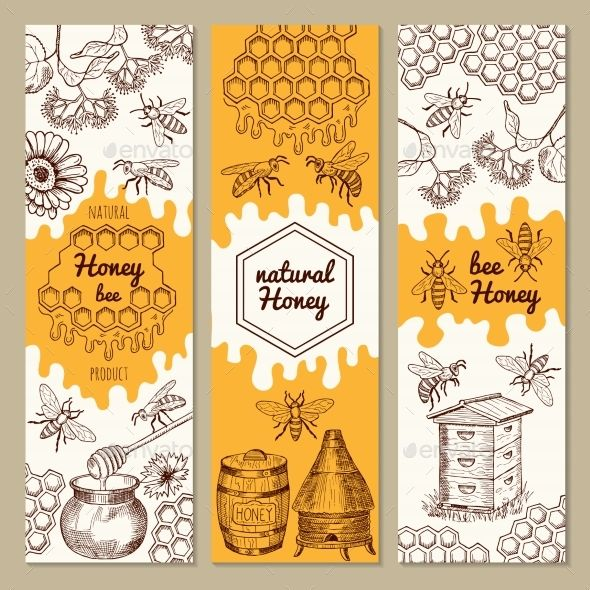 Banners with Honey Product Pictures Banners, Bee honeycomb and Honey - fresh invitation banner vector
