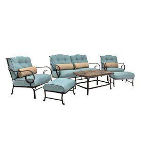 hanover patio furniture. Hanover Outdoor Furniture 6-Piece Blue Steel Patio Conversation Set N
