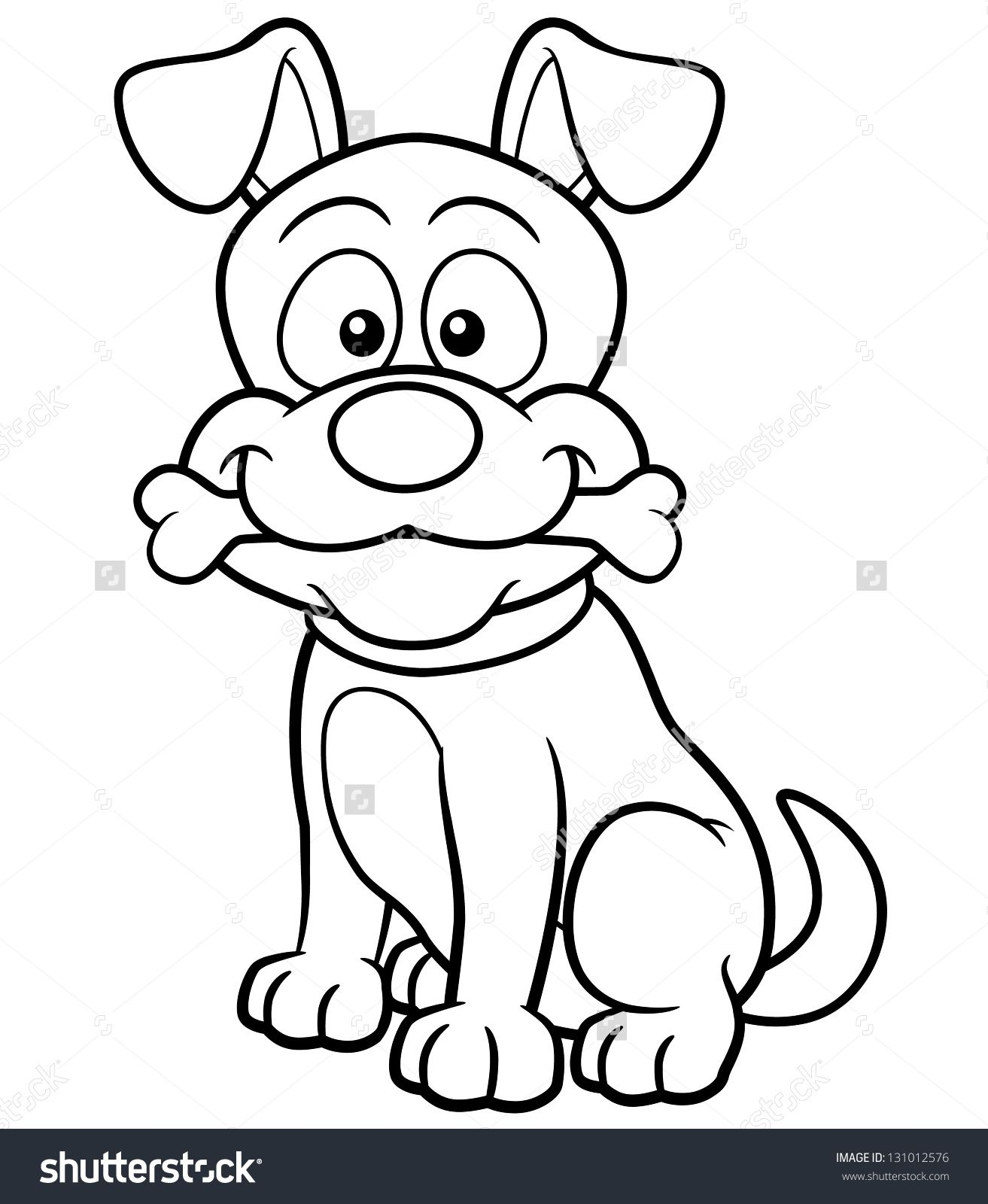 Vector illustration of cartoon dog coloring book