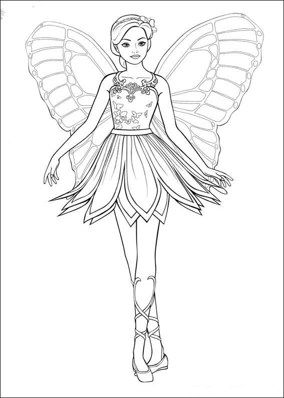 Coloring Page Barbi Mariposa Kids N Fun Barbie Coloring Pages