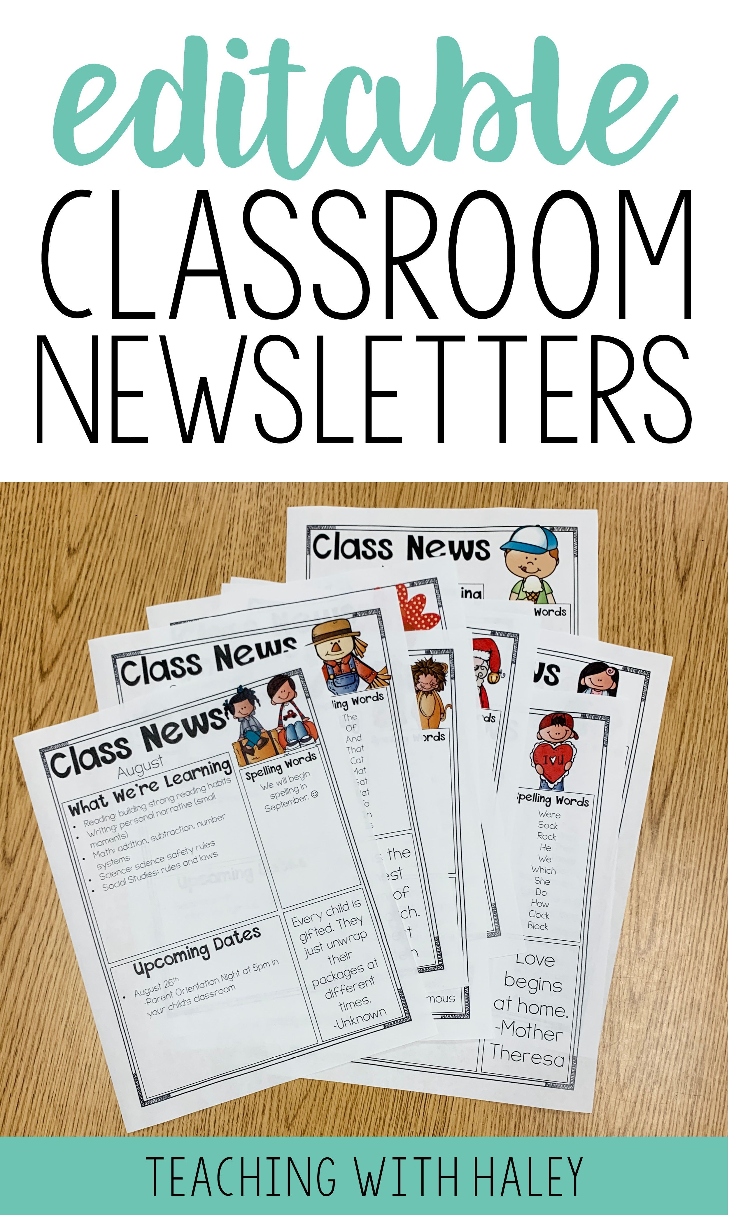 Editable Newsletter Template Over 110 Designs Editable Newsletter Templates Classroom Newsletter Life Skills Classroom