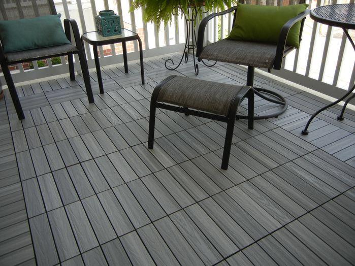 Naturale Composite 12 X 12 Interlocking Deck Tiles In Icelandic