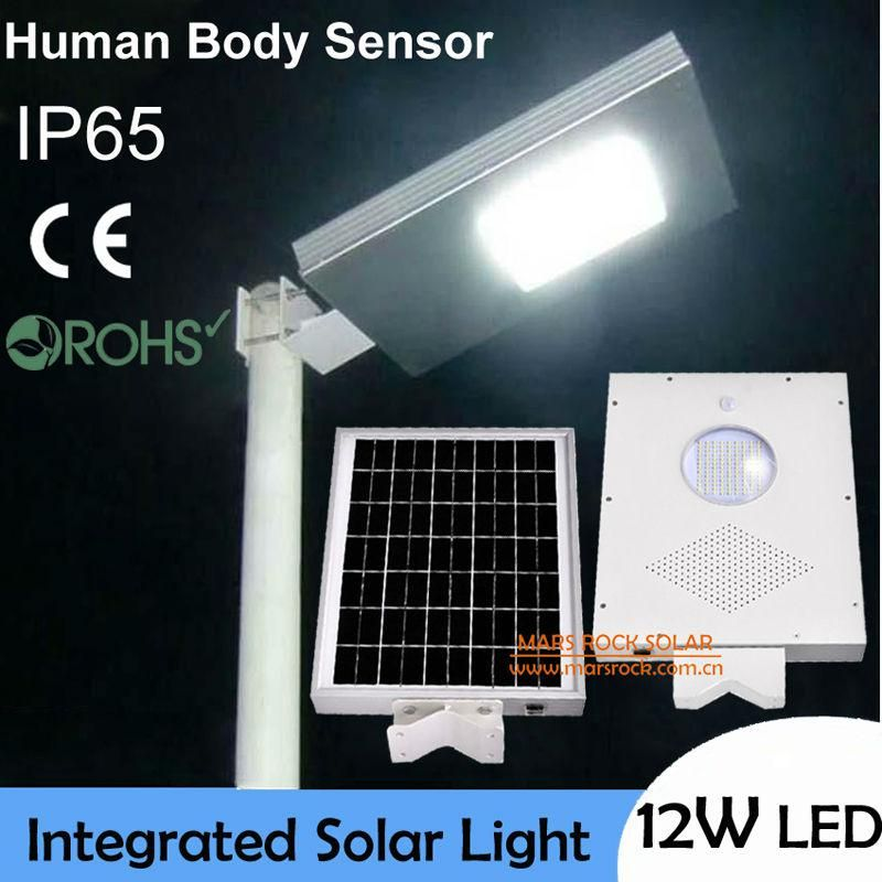 12w Ultra Bright Led Solar Light Outdoor Human Body Sensor Lamp 18w Solar Panel With 6ah Battery Integrated Solar Garden Light Solar Lights Garden Outdoor Solar Lights