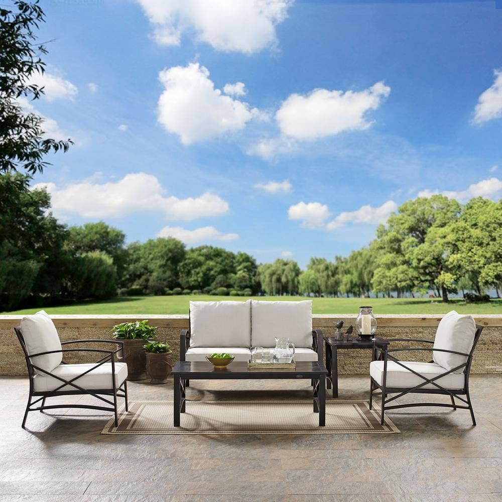 crosley kaplan 5 piece metal outdoor seating set with oatmeal rh pinterest com