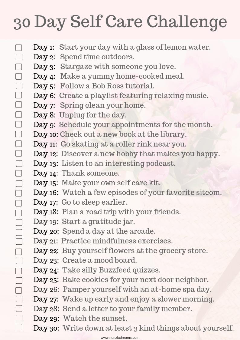 30 Days of Self Care Challenge Checklist | NunziaDreams