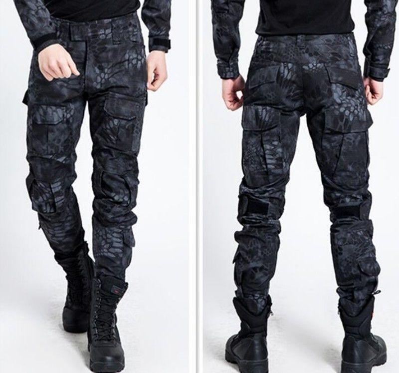 Hot Mens Military Trousers Camo Combat Army Cargo Work Outdoor Long Pocket Pants Pantalones De Combate Chalecos De Moda Hombre Ropa Tactica