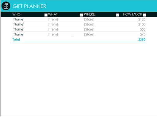 Raj Excel Gift Planner Excel Online Templates Excel Tips