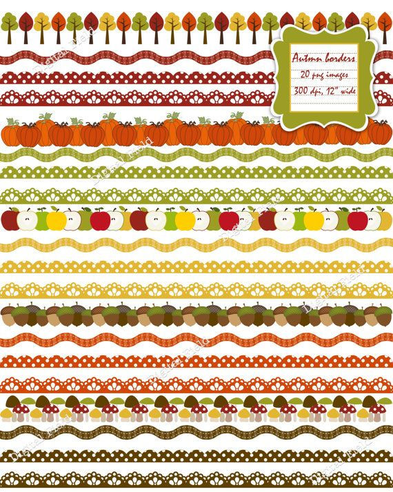 INSTANT DOWNLOAD Autumn Digital Borders and by digitalfield, $3.25