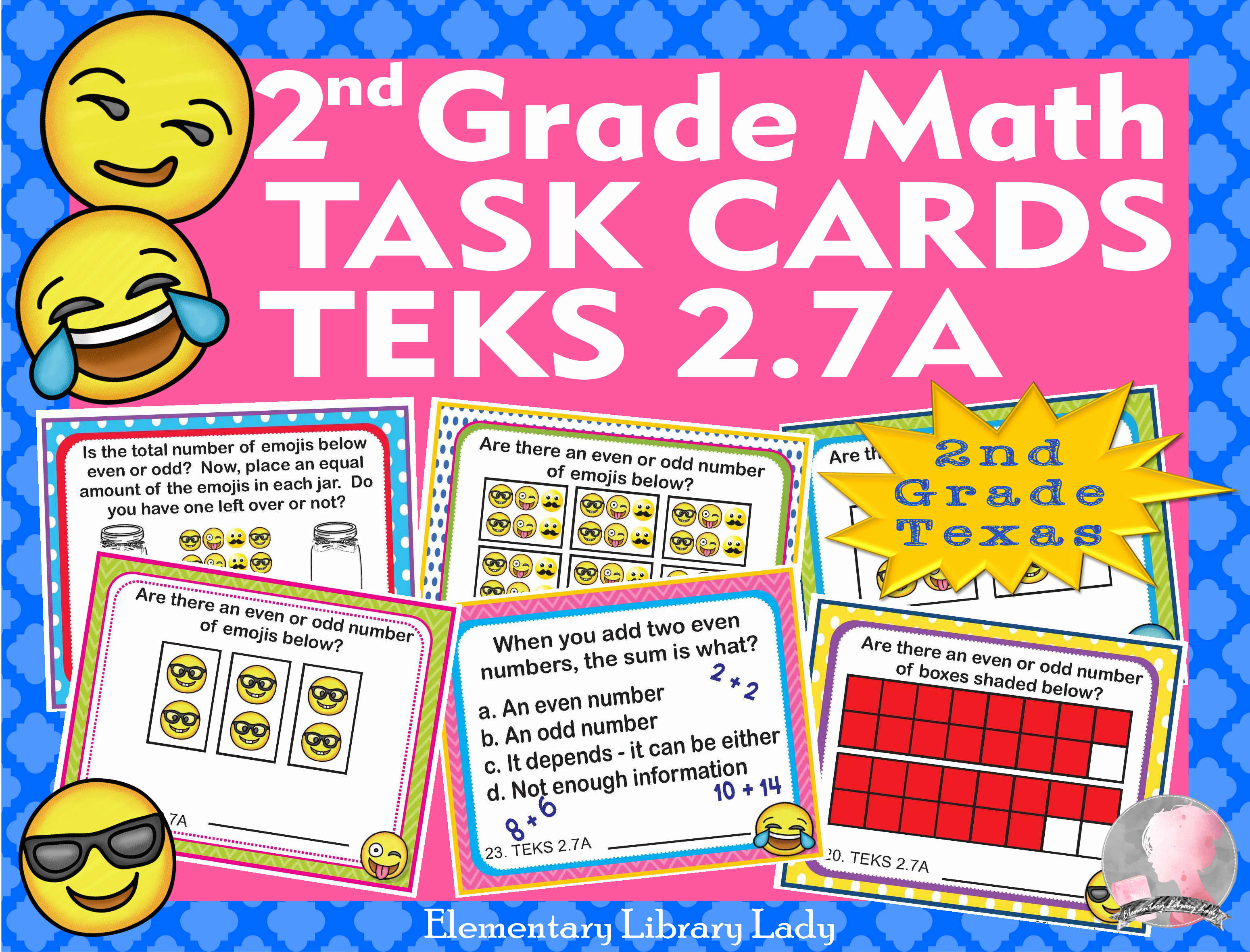 Math Teks 2 7a Texas 2nd Grade Task Cards Odd And Even