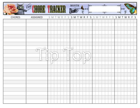 Chore Chart Tracker  Vintage Style Organizing Printable Template