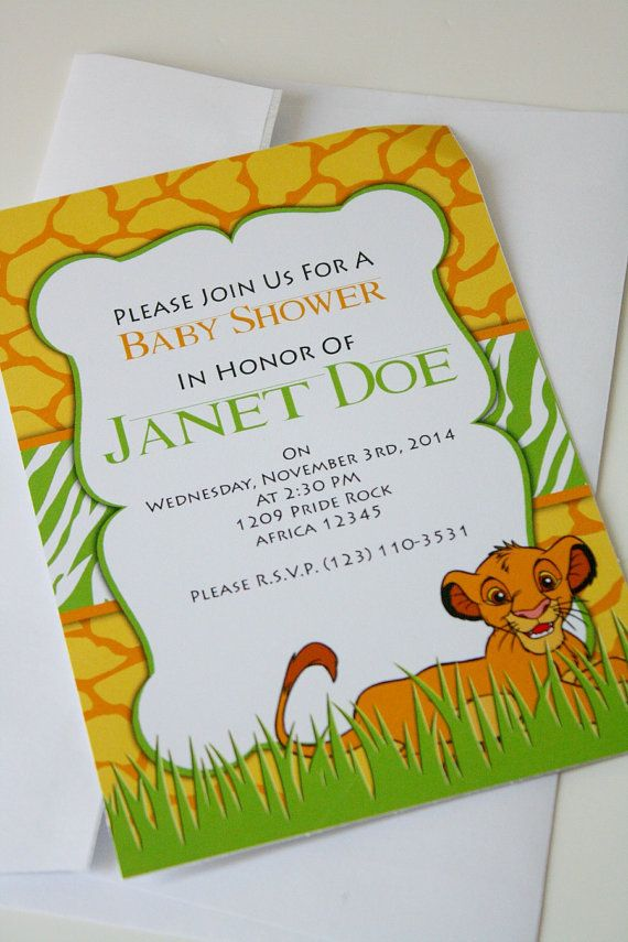 Zebra Print Lion King Baby Shower Invitation. Simba