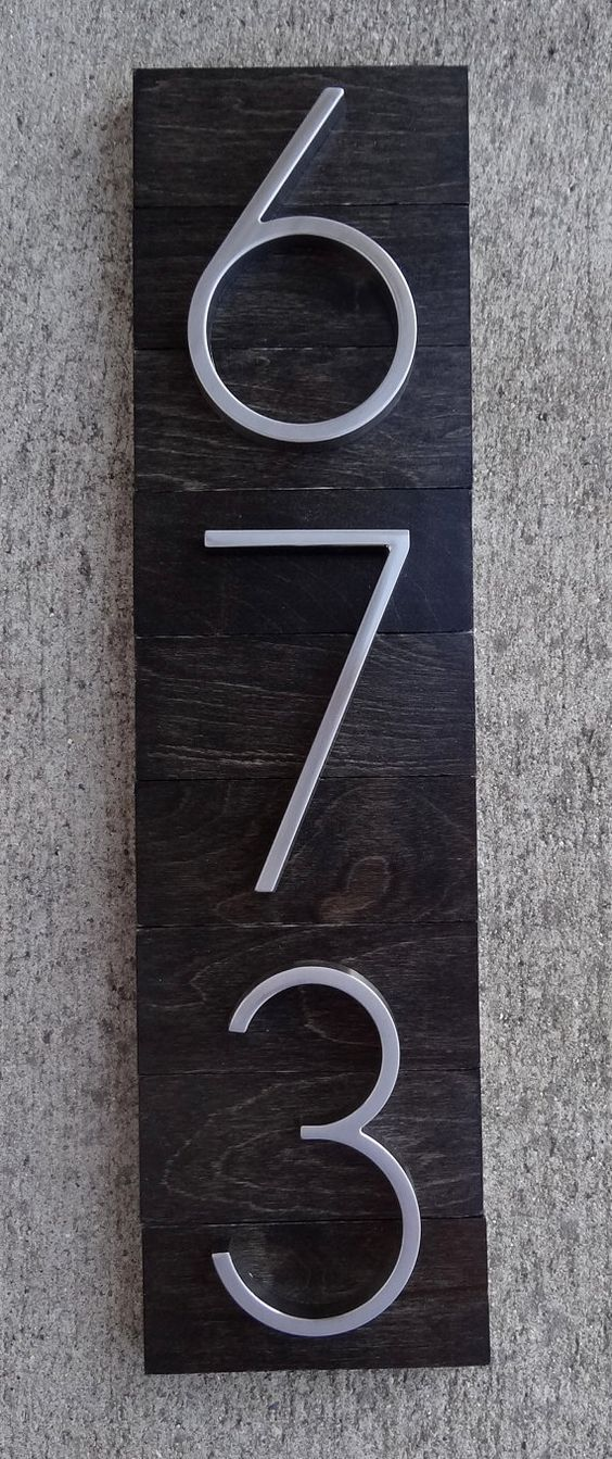 House numbers plaque on ebony stained wood by thedetailed on etsy